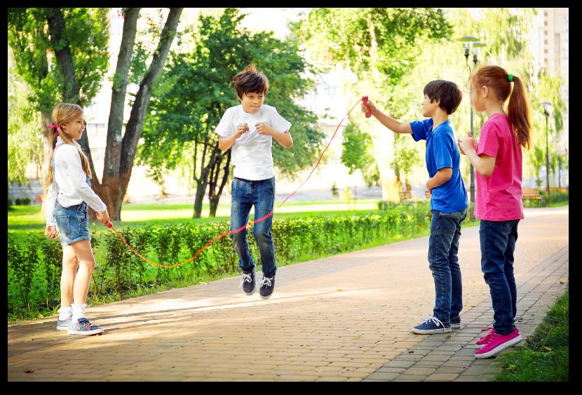 kids jump roping spring shadow
